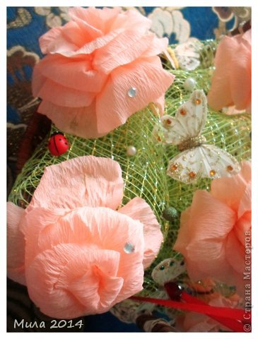вот сделала на юбилей тете корзинку с розами))))ей очень понравилось) фото 7