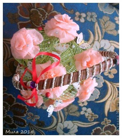 вот сделала на юбилей тете корзинку с розами))))ей очень понравилось) фото 8