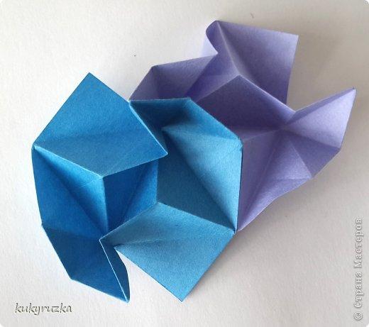 Всем доброго дня!  Разрешите представить кусудаму Clare и МК на нее. Сначала параметры:  Name: Clare Designer: Tatyana Andreychikova Parts: 30 Paper size: 7,5 x 7,5 cm Final height: 13 cm Joint: no glue фото 12