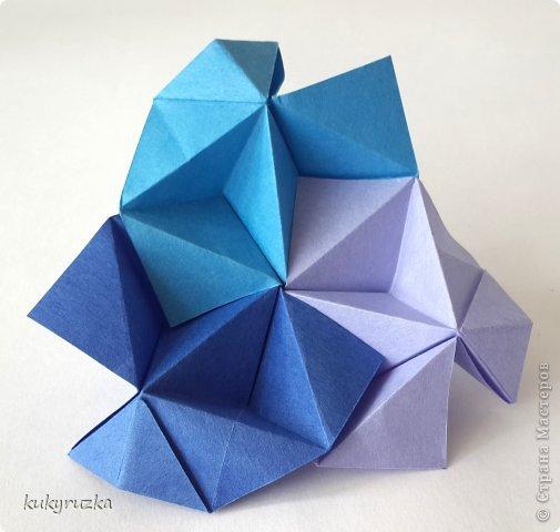 Всем доброго дня!  Разрешите представить кусудаму Clare и МК на нее. Сначала параметры:  Name: Clare Designer: Tatyana Andreychikova Parts: 30 Paper size: 7,5 x 7,5 cm Final height: 13 cm Joint: no glue фото 15