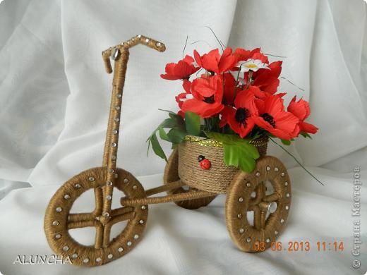 Я тоже сделала велосипедик-кашпо по МК Sjusen...Уж очень мне он понравился...МК очень доступный и понятный..Советую всем ... фото 1