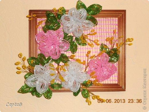 Поделка изделие День рождения Бисероплетение Картинка из цветов Бисер Проволока фото 2.