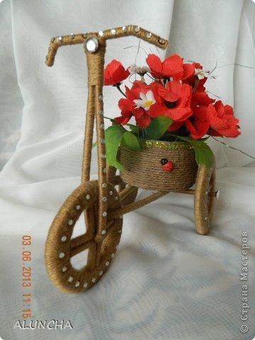 Я тоже сделала велосипедик-кашпо по МК Sjusen...Уж очень мне он понравился...МК очень доступный и понятный..Советую всем ... фото 2
