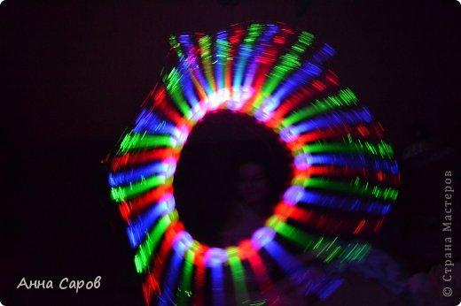 У многих дома, наверное, имеются светящиеся игрушки со светодиодиками. Вот и у нас такая завалялась :-) И вот я предложила дочке её раскручивать в темноте, переключая режимы свечения, а сама фотографировала без вспышки. И вот что получилось, думаю, вышло необычно и красиво :-) Может и вам пригодится. фото 2