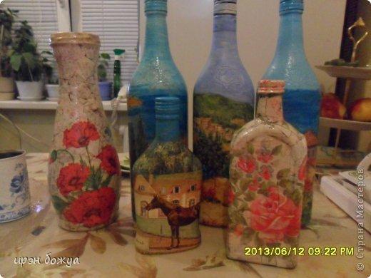 Эти бутылочки и вазу делала в течение 2-х недель,когда было хорошее настроение и позволяло время фото 1