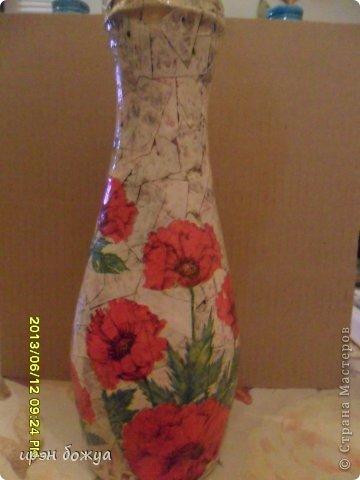Эти бутылочки и вазу делала в течение 2-х недель,когда было хорошее настроение и позволяло время фото 11