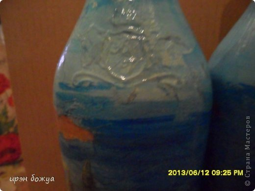 Эти бутылочки и вазу делала в течение 2-х недель,когда было хорошее настроение и позволяло время фото 15