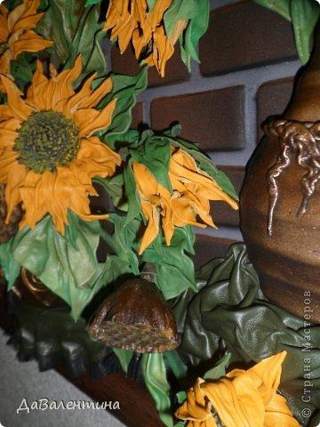 Картина панно рисунок Мастер-класс Ассамбляж Картина из кожи Композиция с Подсолнухами  Мастер-класс Кожа фото 7
