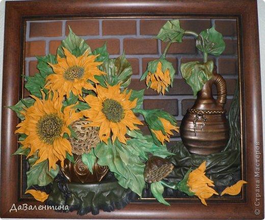 Картина панно рисунок Мастер-класс Ассамбляж Картина из кожи Композиция с Подсолнухами  Мастер-класс Кожа фото 1