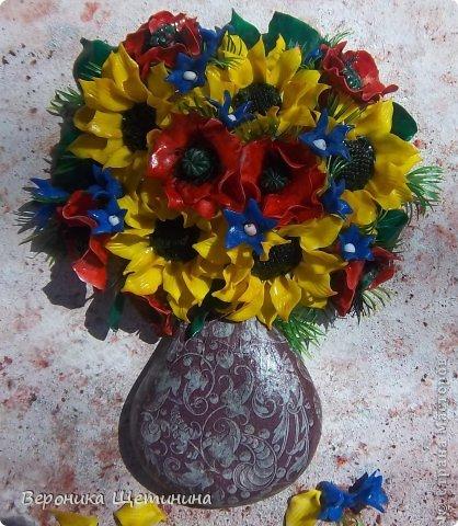 Здесь вазочка гипсовая, задекупажена салфеткой.  фото 1