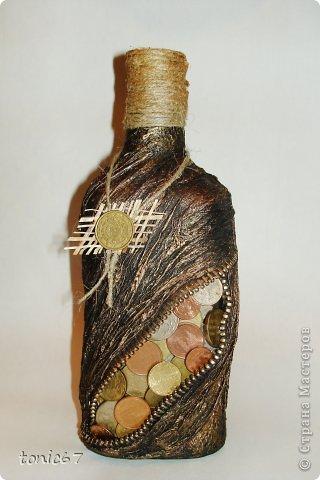 Бутылка папе на день рождения. Первая такая поделка у меня)) фото 1