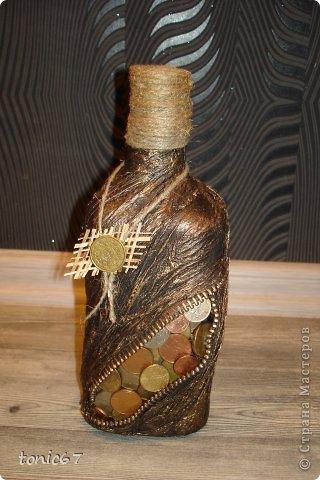 Бутылка папе на день рождения. Первая такая поделка у меня)) фото 2