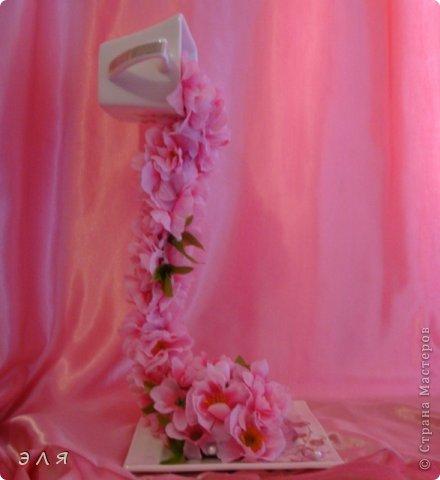 """Парящая чашка """"Сакура""""(цветы искусственные) фото 2"""