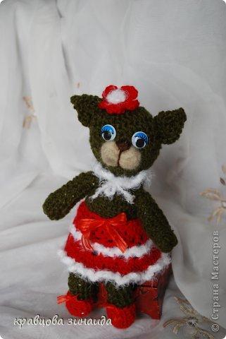 ДОБРЫЙ  ВЕЧЕР   СРАНА  МАСТЕРОВ , показываю  вам  киску,  любовь  к  вязанным  игрушкам  мне  привила  ОЛЬГА  АЛЕКСАНДРОВНА , спасибо  тебе  ОЛЕНЬКА , вот  и  вяжу  потихонечку,  получилась  вот такая  ушастая  ЛАПУШКА. фото 5