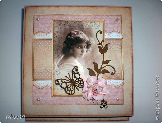 Добрый вечер, дорогая Страна! У меня сегодня открыточка, сделанная просто  по вдохновению...очень захотелось сделать такую, как я люблю...с милым образом, в стиле старины, любимых оттенков  розового, коричневого, и хоть капельку горошка. Ну разве не милая эта девчушечка...?   фото 2