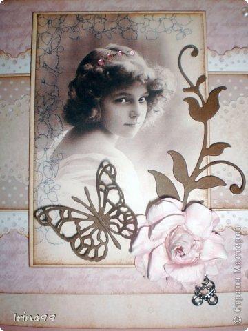 Добрый вечер, дорогая Страна! У меня сегодня открыточка, сделанная просто  по вдохновению...очень захотелось сделать такую, как я люблю...с милым образом, в стиле старины, любимых оттенков  розового, коричневого, и хоть капельку горошка. Ну разве не милая эта девчушечка...?   фото 1