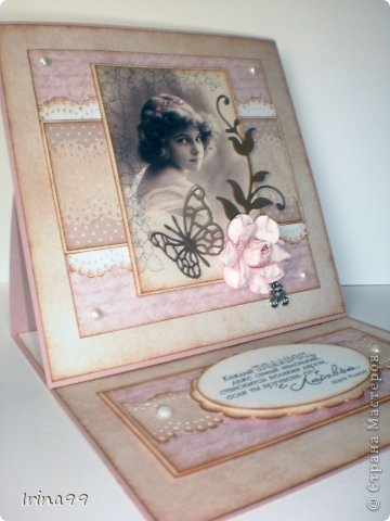 Добрый вечер, дорогая Страна! У меня сегодня открыточка, сделанная просто  по вдохновению...очень захотелось сделать такую, как я люблю...с милым образом, в стиле старины, любимых оттенков  розового, коричневого, и хоть капельку горошка. Ну разве не милая эта девчушечка...?   фото 5