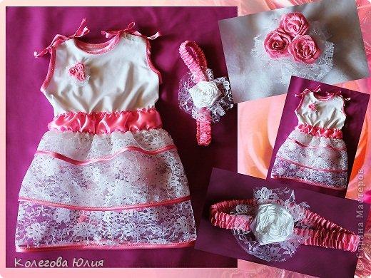 Давно я вынашивала идею шить платья для девочек, во первых мне нравится все кропотливое и мелкое, во вторых нужно минимум ткани, в третьих если что испорчу, то не жалко))))) И выдался удобный случай! Моей малышке крестнице, исполнилось 2 месяца!!!!!!!! фото 1