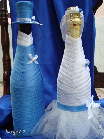 Вот такой набор мне заказали на свадьбу жениха. У нас в Дагестане принято играть 2 свадьбы: 1-свадьба невесты, а 2-свадьба жениха. Поэтому и на бокалах использованны фото из свадьбы невесты. весь декор подбирался под цвет костюма жениха. А что у меня получилось и что нет судить вам дорогие жители страны фото 2