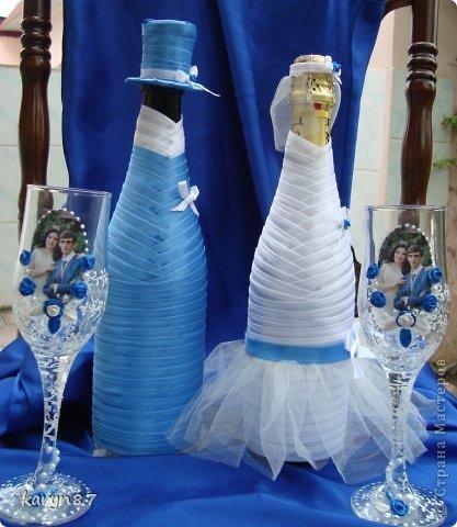 Вот такой набор мне заказали на свадьбу жениха. У нас в Дагестане принято играть 2 свадьбы: 1-свадьба невесты, а 2-свадьба жениха. Поэтому и на бокалах использованны фото из свадьбы невесты. весь декор подбирался под цвет костюма жениха. А что у меня получилось и что нет судить вам дорогие жители страны фото 1