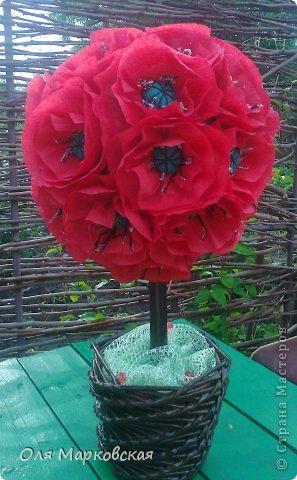 Корзинка из газетных трубочек с розами из гофрированой бумаги! фото 3