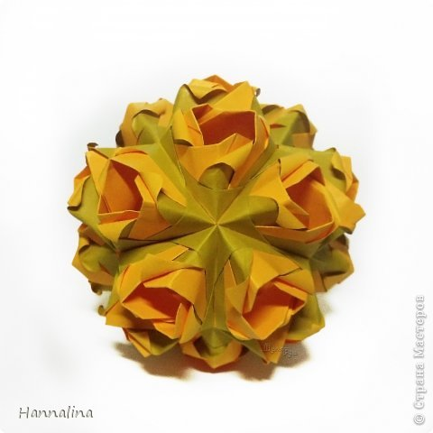 "Эта кусудама была представлена на флешмоб в ЖЖ  ""Кусудамы + цветы"":  Name: Radianta-60 variation & Origami Flowers Designer: Lukasheva Ekaterina (Russia) & Soonboke Smith Folder: Alina Maslova Parts:60+12 Paper's size : 5x5 cm + 14x14 cm Joined with: glue Final height: ~ 9-10cm  Diagram:http://www.kusudama.me/origami/Radianta#rad2  Flowers: Book ""Origami Flowers"" by Soonboke Smith / Книга Санбук Смит ""Цветы Оригами"" фото 8"