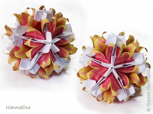 "Эта кусудама была представлена на флешмоб в ЖЖ  ""Кусудамы + цветы"":  Name: Radianta-60 variation & Origami Flowers Designer: Lukasheva Ekaterina (Russia) & Soonboke Smith Folder: Alina Maslova Parts:60+12 Paper's size : 5x5 cm + 14x14 cm Joined with: glue Final height: ~ 9-10cm  Diagram:http://www.kusudama.me/origami/Radianta#rad2  Flowers: Book ""Origami Flowers"" by Soonboke Smith / Книга Санбук Смит ""Цветы Оригами"" фото 5"