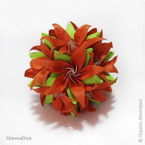 "Эта кусудама была представлена на флешмоб в ЖЖ  ""Кусудамы + цветы"":  Name: Radianta-60 variation & Origami Flowers Designer: Lukasheva Ekaterina (Russia) & Soonboke Smith Folder: Alina Maslova Parts:60+12 Paper's size : 5x5 cm + 14x14 cm Joined with: glue Final height: ~ 9-10cm  Diagram:http://www.kusudama.me/origami/Radianta#rad2  Flowers: Book ""Origami Flowers"" by Soonboke Smith / Книга Санбук Смит ""Цветы Оригами"" фото 1"
