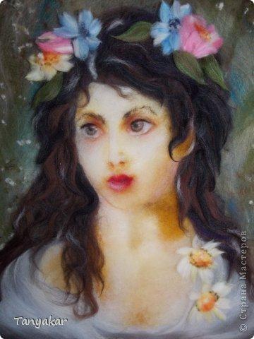 портрет (по мотивам картины К.Маковского) шерсть 30х40