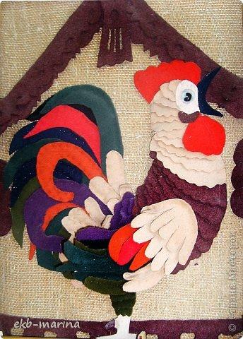 Петушок выполнен из драпа, все детали пришиты к основе. фото 2