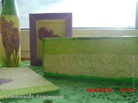 вот такой комплект появился для моей подруги из Набережных Челнов. Она любит коричневый. зелёный и фиолетовый цвета. Вот я постаралась их объединить.  Шкатулка - это бывшая упаковка мп3 плеера. Рамочка - это коробочка из под лукума. А вазочка - бутылка лимонада ))) вот из подручных материалов пыталась сделать красоту. А как у меня это получилось. смотрите сами )) фото 5