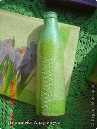 вот такой комплект появился для моей подруги из Набережных Челнов. Она любит коричневый. зелёный и фиолетовый цвета. Вот я постаралась их объединить.  Шкатулка - это бывшая упаковка мп3 плеера. Рамочка - это коробочка из под лукума. А вазочка - бутылка лимонада ))) вот из подручных материалов пыталась сделать красоту. А как у меня это получилось. смотрите сами )) фото 9