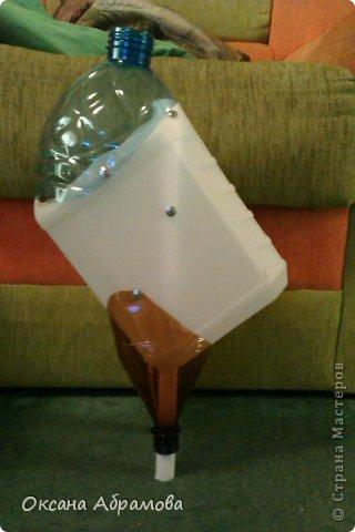 """Хочу познакомить Вас со своим изделием """"Филин"""", изготовлен из пластиковых бутылок. фото 3"""