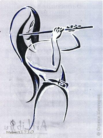 """Ещё пара новых, """"музыкально-флейтовых вырезалок"""" . Понравилась мне эта девица как идея для открыточки фото 2"""