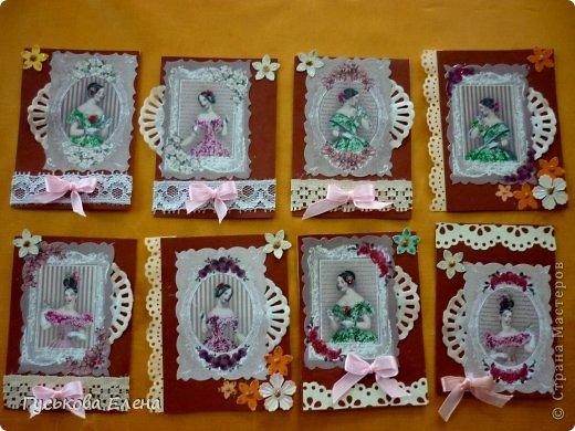 Серия создана с использованием:распечатка дам...кружева(кстати подарочные)....ленточки (подарочные)....научилась завязывать бантики на вилке!!!!!....салфетки немного тонированные.....дырокольные цветы,серединка у них-глиттер....бумажные кружева(подарочки).Сначала выбирают кредиторы!!!!!!!!!!!!!!!!!!! фото 1