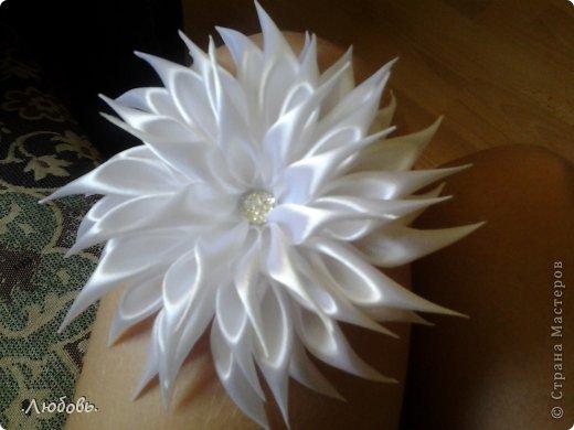 Увлеклась изготовлением цветов из атласных лент. Хочу показать некоторые свои работы. фото 12