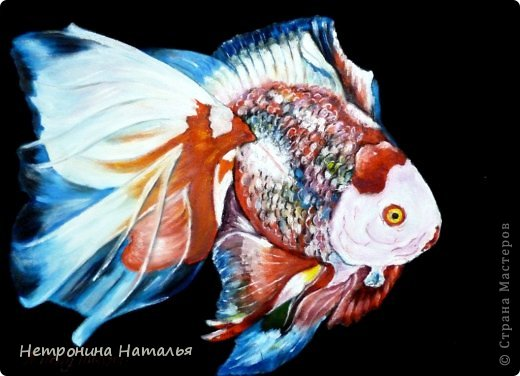 Серия картин - золотые рыбки - масло на искустсвенной замше фото 2