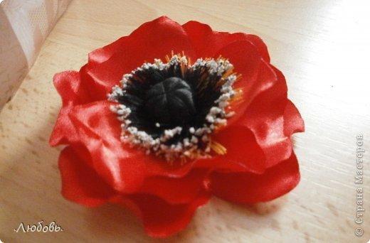 Увлеклась изготовлением цветов из атласных лент. Хочу показать некоторые свои работы. фото 8