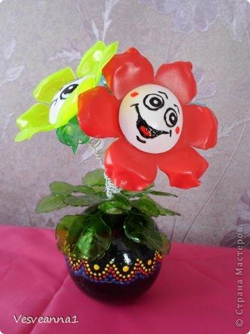 Мастер-класс Вырезание Веселые цветочки  для сына и для дочки Бутылки пластиковые фото 17