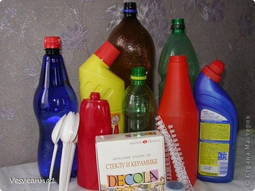 Мастер-класс Вырезание Веселые цветочки  для сына и для дочки Бутылки пластиковые фото 2