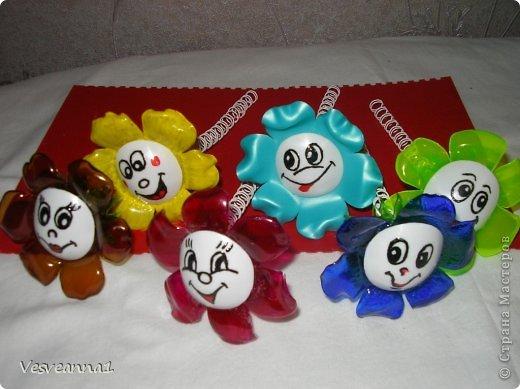 Мастер-класс Вырезание Веселые цветочки  для сына и для дочки Бутылки пластиковые фото 8