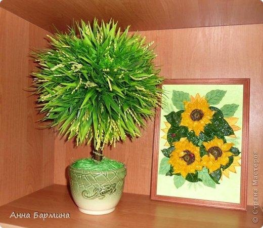 Спасибо всем кто зашел в гости!))) Топиарий из искуственной зелени. Рядом картина из соленого теста  фото 1
