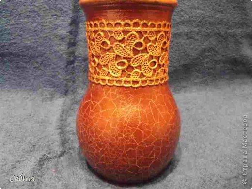 Глиняный горшочек декорирован в технике декупаж + кракелюр.