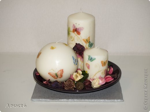Девочки, здравствуйте. Хочу показать Вам некоторые свои работы по декорированию свечей. К сожалению нет общей фотографии, поэтому загрузила много. Наборчики свечей. Украшены ароматным саше. фото 2