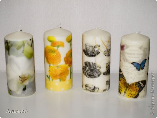 Девочки, здравствуйте. Хочу показать Вам некоторые свои работы по декорированию свечей. К сожалению нет общей фотографии, поэтому загрузила много. Наборчики свечей. Украшены ароматным саше. фото 9