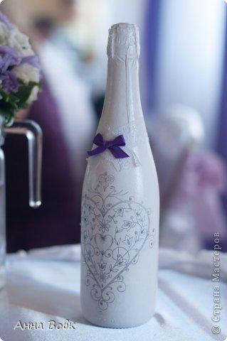 Свадебная бутылочка для фиолетовой свадьбы) фото 2