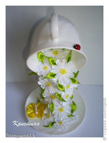 Бонсай топиарий Поделка изделие Моделирование Торцевание Цумами Канзаши Летящая чашка с ромашками и моя яблонька фото 2