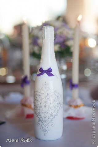 Свадебная бутылочка для фиолетовой свадьбы) фото 3