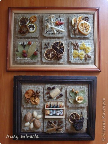 """В продолжение моей темы панно ( https://stranamasterov.ru/node/593200 ) создала для своей кухни вторую работу. В планах три картины. Осталось купить еще одну рамочку) Это назвала """"Десертное"""", т.к. здесь все элементы """"сладенькие"""")) фото 9"""