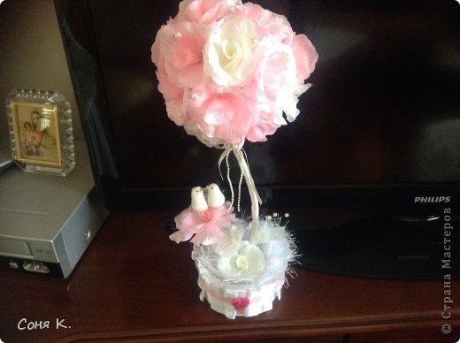 Свадебное дерево из лепестков роз и МК  фото 14